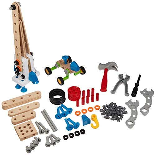 51i01s82YmL. AC  - BRIO Builder 34587 - Builder Construction Set - 136-Piece Construction Set STEM Toy with Wood and Plastic Pieces for Kids Age 3 and Up