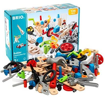 51ikRZ1svBL. AC  - BRIO Builder 34587 - Builder Construction Set - 136-Piece Construction Set STEM Toy with Wood and Plastic Pieces for Kids Age 3 and Up