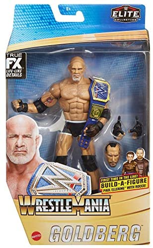 51jFC7qd5RL. AC  - WWE Wrestlemania 37 Elite Collection Goldberg Action Figure with Universal Championship and Paul Ellering and Rocco BuildAFigure Pieces6 in Posable Collectible Gift Fans