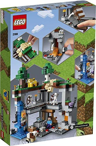 51k6bLdsj1L. AC  - LEGO Minecraft The First Adventure 21169 Hands-On Minecraft Playset; Fun Toy Featuring Steve, Alex, a Skeleton, Dyed Cat, Moobloom and Horned Sheep, New 2021 (542 Pieces)