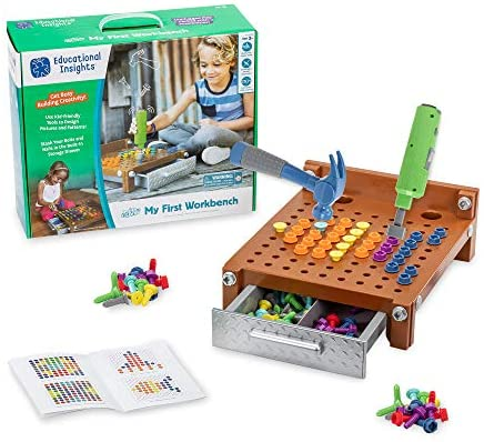 51kAFUhbAkL. AC  - Educational Insights Design & Drill My First Workbench, Drill Toy, STEM & Construction, 125 Pieces, Ages 3+