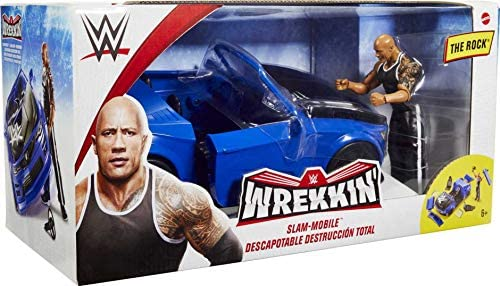 51lNr8qCVsL. AC  - WWE Wrekkin' Slam-Mobile Vehicle (13-in) with Rolling Wheels and 8 Breakable Parts & 6-in The Rock Basic Action Figure, Gift for Ages 6 Years Old and Up [Amazon exclusive]