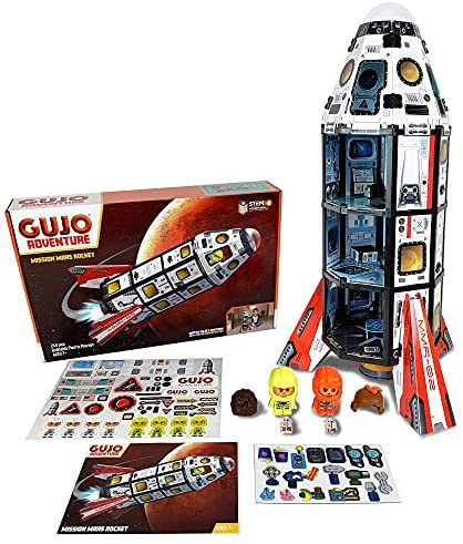 51mzlU2Yl4S. AC  - GUJO Adventure Mars Mission Rocket, Kids STEM Building Toys Set (2.5 ft. Tall) Space Toy Rocket Ship - STEM Learning Toy for Boys & Girls Ages 7-11+ Great Gift for Kids (240+ Pieces)