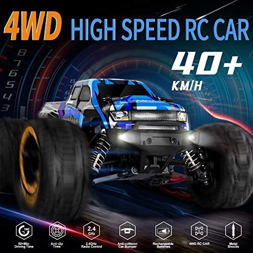51n5D2Wu1BL. AC  - RC Cars, Fcoreey RC Truck 1:16 Remote Control Car for Boys, 40 Km/h High Speed Racing Car, 2.4 GHz 4x4 Off Road Monster Truck, Electric Vehicle with LEDs, Hobby Car Toy Gift for Adults Kids Girl