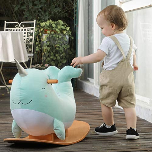 51nIb6MPJkL. AC  - labebe -Narwhal Rocking Horse, Baby Wooden Rocking Chair for Child 1-3 Year Old, Kid Ride On Whale Rocker Animal Toy for Infant/Toddler Girl&Boy, Nursery Birthday Gift