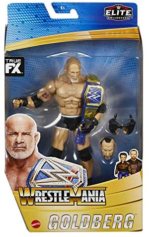 51nQv+OJJaL. AC  - WWE Wrestlemania 37 Elite Collection Goldberg Action Figure with Universal Championship and Paul Ellering and Rocco BuildAFigure Pieces6 in Posable Collectible Gift Fans