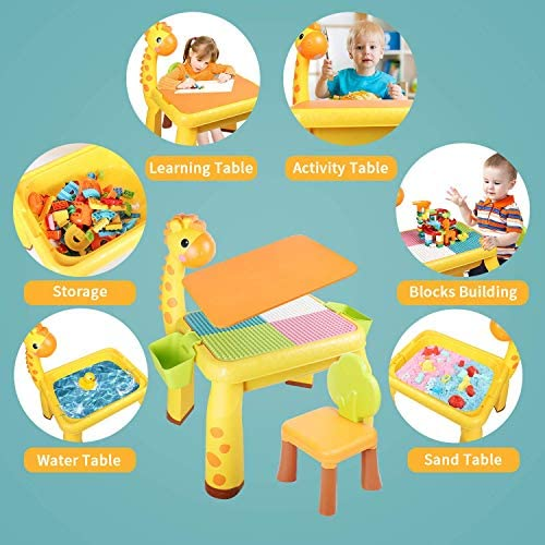51nqEWmA8tL. AC  - Toddler Kids Activity Table Set Table and Chairs Set with Storage,8-in-1 Multi Activity Table Set, Large Building Blocks Compatible Bricks Toy, Toddlers Activity for Boys Girls, USB Supply with Light