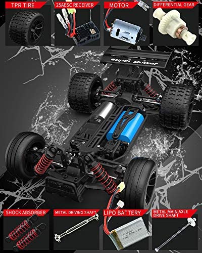 51oballwkRL. AC  - RC Car 1/18 High Speed 4WD Electric Remote Control Car, 30+MPH 2.4GHz All Terrain Off-Road Rally Buggy Racing Cars Toys, with Two Rechargeable Batteries for 40+ Min Play, Gift for Boys Teens Adults