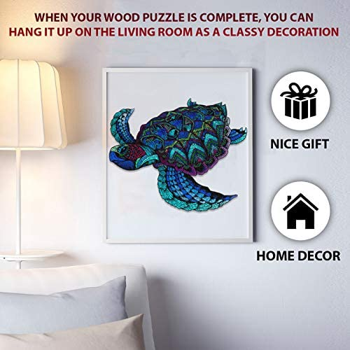 51pVYQic3JL. AC  - DEPLEE Wooden Puzzle Jigsaw, Turtle Puzzle Toy Artwork, Animal Unique Shape Creative, Best Challenge Game for Adults, Kids, Family and Friend - 304 Pcs – 16.35 x 19.18 in (41.54x48.72cm)- Super King