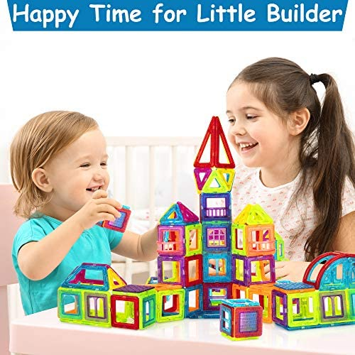 51pqkAphZxL. AC  - Magnetic Building Blocks for Kids, 184PCS Colorful Magnet Tiles with Multiple Shapes, Strong Magnets, 3D STEM Educational Toy for 3+ Year Old Girls Boys
