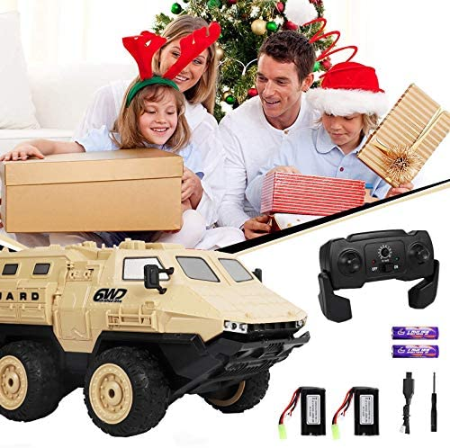 51qE6+rtrsL. AC  - RC Military Truck, RC Army Trucks, 120 Min Play 6WD 1/16 Scale RC Army Car, 2.4 GHz Remote Control High Speed Army Car, All-Terrain Off-Road Military Tank RC Car Vehicle for Adults Kids, 2 Batteries