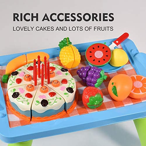 51qHZ3oJY6L. AC  - XQW Food Kids Toy Set , 35PCS Pretend Play Food Dessert Set - Happy Birthday Cake - Cut Fruit Play, Great for Any Toy Kitchen Set or for Birthday Party, Learning Gift for Girls Boys Kids (35pcs)