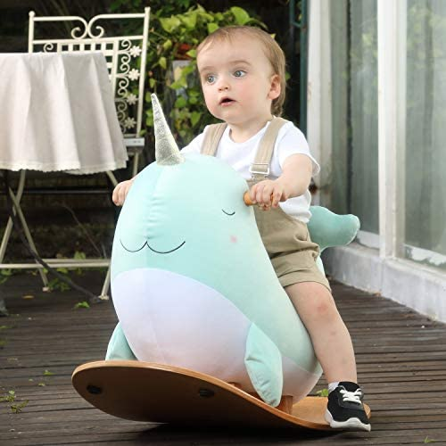 51qSidt+z6L. AC  - labebe -Narwhal Rocking Horse, Baby Wooden Rocking Chair for Child 1-3 Year Old, Kid Ride On Whale Rocker Animal Toy for Infant/Toddler Girl&Boy, Nursery Birthday Gift