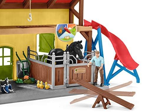51qwVORBZWL. AC  - Schleich Farm World, 30-Piece Playset, Farm Toys and Farm Animals for Kids Ages 3-8, Horse Stable