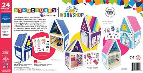 51scTEa63UL. AC  - CreateOn Build A Bear Cub Condo Magna-Tile Combo Set. The Original Magnetic Building Tiles Together with Reusable Cling Make Playing Fun, Creative & Colorful Toy for Children Ages 3 Years +