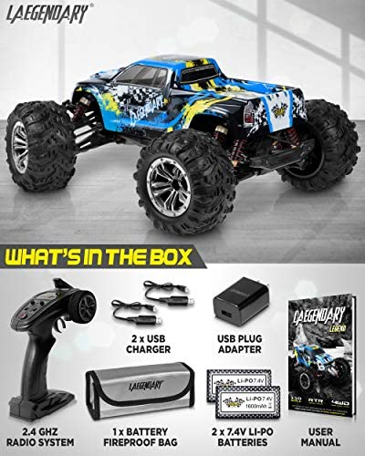 51tHON6dmLL. AC  - 1:10 Scale Large RC Cars 48+ kmh Speed - Boys Remote Control Car 4x4 Off Road Monster Truck Electric - All Terrain Waterproof Toys Trucks for Kids and Adults - 2 Batteries + Connector for 40+ Min Play
