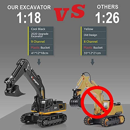 51tW91Pt5bL. AC  - kolegend Remote Control Excavator Toy, 1/18 Scale RC Excavator Construction Vehicles Truck for Boys Girls Kids RC Tractor with Lights Rechargeable Battery