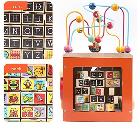 51u7ihSXtYS. AC  - GEMEM Wooden Activity Cube Bead Maze Toy Animal Learning Letters Gear Toys for Toddler Kid