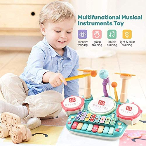 51uCmWlvaiL. AC  - Besandy 5 in 1 Musical Instruments Toys - Kids Electronic Piano Keyboard Xylophone Drum Toys Set with Light 2 Microphone for Suitable for Children Over 3 Years Old