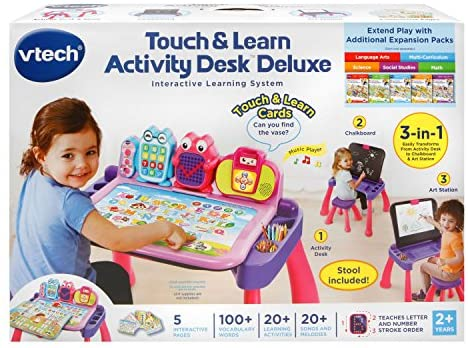 51uGwlIjKWL. AC  - VTech Touch and Learn Activity Desk Deluxe, Pink
