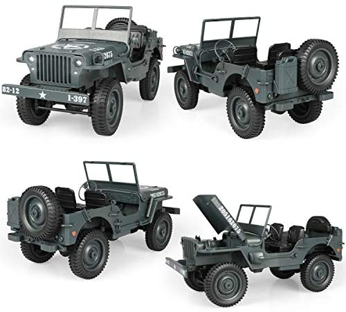 51uUdxkZvNL. AC  - RC Car for Boy Toy,1:10 Scale Simulation Army High Speed 4WD 2.4Ghz RC Cars with Led Light,Military Model Electric Jeep Toys,RC Trucks 4x4 Offroad,Children Gift for Birthday and Christmas (Grey)