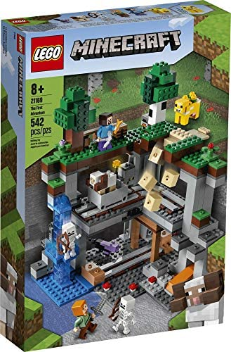 51ug96hosaL. AC  - LEGO Minecraft The First Adventure 21169 Hands-On Minecraft Playset; Fun Toy Featuring Steve, Alex, a Skeleton, Dyed Cat, Moobloom and Horned Sheep, New 2021 (542 Pieces)