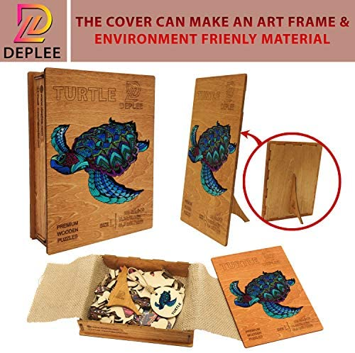 51uiP5BY3ZL. AC  - DEPLEE Wooden Puzzle Jigsaw, Turtle Puzzle Toy Artwork, Animal Unique Shape Creative, Best Challenge Game for Adults, Kids, Family and Friend - 304 Pcs – 16.35 x 19.18 in (41.54x48.72cm)- Super King