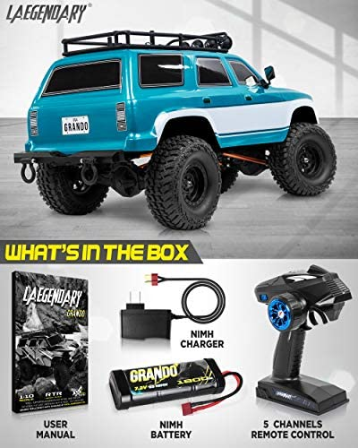 51vDmYNUP6L. AC  - 1:10 Scale Large RC Rock Crawler - 4WD Off Road RC Cars - Remote Control Car 4x4 Electric Truck - IPX5 Waterproof Trucks for Adults - RTR with 5Ch Remote, Battery and Charger