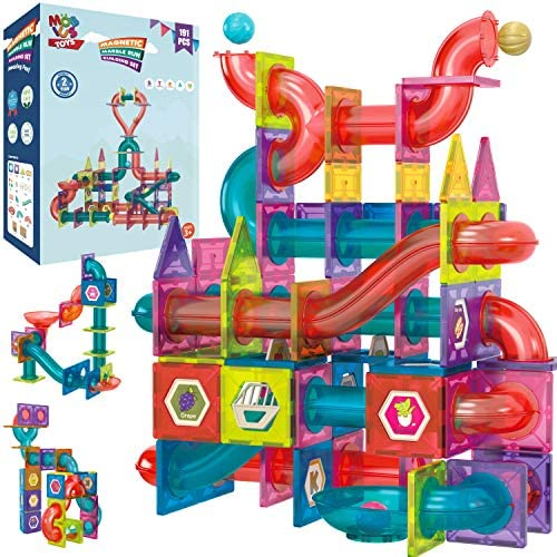 51vSGY+47tL. AC  - Magnetic Marble Run Building Set - 191 Piece - 3D Magnetic Tiles Ball Track -Building Kit Fun and Educational Toy STEAM Learning and Creativity Gift for Boys and Girls Ages 3 4 5 6 7 8 Years Old
