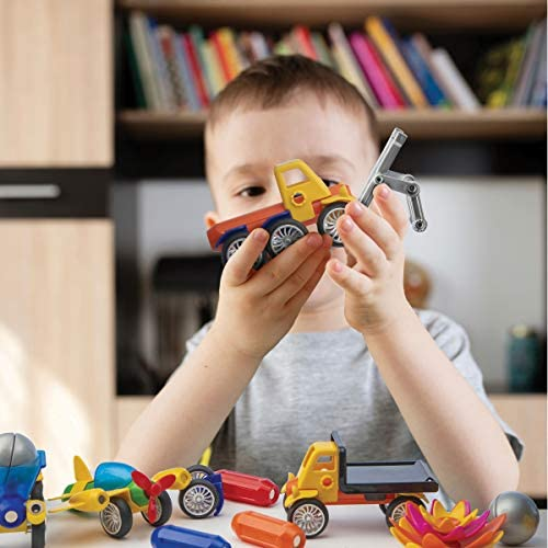 51wOYQii+nL. AC  - Play Brainy Magnetic Toy Cars Set for Boys and Girls - Brilliant Educational Toys for Toddlers and Preschoolers - Montessori Toy is Load of Fun & Helps with Developmental Skills (90 Piece)