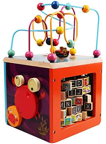 51y8ICNSF3L. AC  - GEMEM Wooden Activity Cube Bead Maze Toy Animal Learning Letters Gear Toys for Toddler Kid