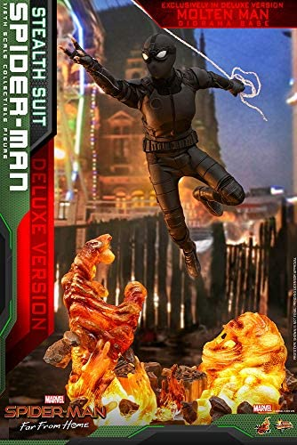 51zhC04X64L. AC  - Hot Toys Movie Masterpiece 1/6 Scale Action Figure Spider-Man (Stealth Suit) MMS541 Far from Home Deluxe Version Tom Holland