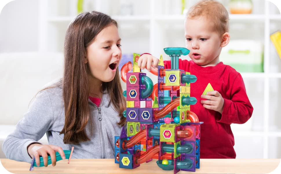 5d837e64 8e13 489f 8c6f 1707a0a45bba.  CR1,0,1499,927 PT0 SX970 V1    - Magnetic Marble Run Building Set - 191 Piece - 3D Magnetic Tiles Ball Track -Building Kit Fun and Educational Toy STEAM Learning and Creativity Gift for Boys and Girls Ages 3 4 5 6 7 8 Years Old