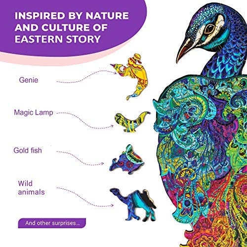 61+TEbkKbLL. AC  - Wooden Puzzles for Adults Kids Families – Eastern Fairy Tale Peacock – Wood Jigsaw Animal Shaped Puzzles – 128 Unique Shape Pieces – Animal Crossing Puzzle Creative Gift – 7.5x16.0in (19x46cm)