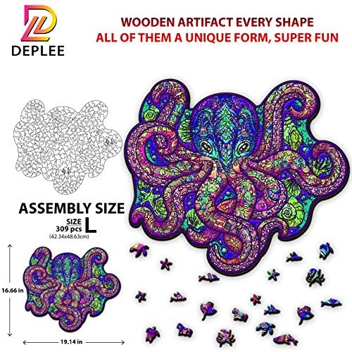 61 dGt179rL. AC  - DEPLEE Wooden Puzzle Jigsaw, Octopus Puzzle Toy Artwork, Animal Unique Shape Creative, Best Challenge Game for Adults, Kids, Family and Friend - 309 Pieces – 16.66 x 19.14 in (42.34x48.63 cm) - Large