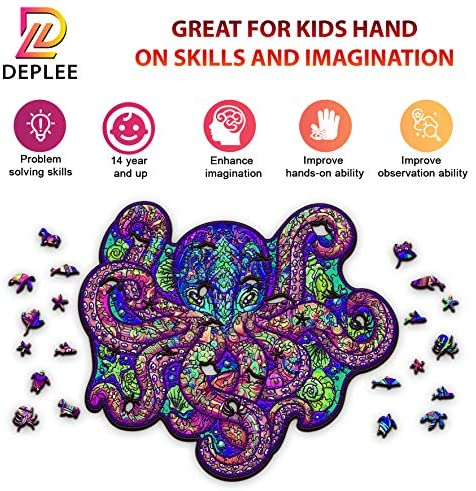 612GOR0uN8L. AC  - DEPLEE Wooden Puzzle Jigsaw, Octopus Puzzle Toy Artwork, Animal Unique Shape Creative, Best Challenge Game for Adults, Kids, Family and Friend - 309 Pieces – 16.66 x 19.14 in (42.34x48.63 cm) - Large