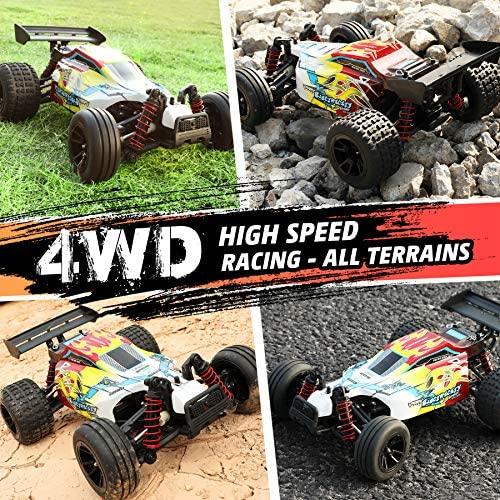 613FOkyrBNL. AC  - RC Car 1/18 High Speed 4WD Electric Remote Control Car, 30+MPH 2.4GHz All Terrain Off-Road Rally Buggy Racing Cars Toys, with Two Rechargeable Batteries for 40+ Min Play, Gift for Boys Teens Adults