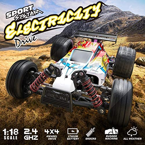 615zDn7SsvL. AC  - RC Car 1/18 High Speed 4WD Electric Remote Control Car, 30+MPH 2.4GHz All Terrain Off-Road Rally Buggy Racing Cars Toys, with Two Rechargeable Batteries for 40+ Min Play, Gift for Boys Teens Adults