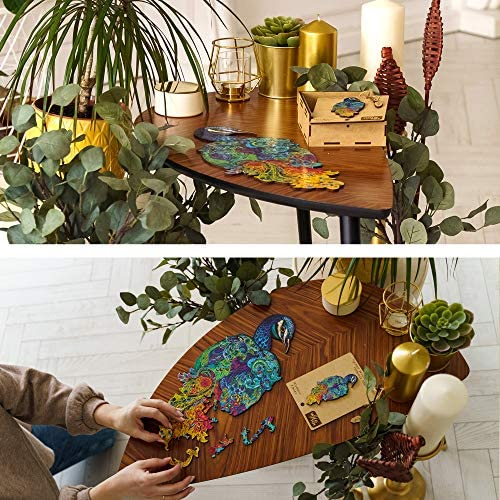 6169SZAJGnL. AC  - Wooden Puzzles for Adults Kids Families – Eastern Fairy Tale Peacock – Wood Jigsaw Animal Shaped Puzzles – 128 Unique Shape Pieces – Animal Crossing Puzzle Creative Gift – 7.5x16.0in (19x46cm)