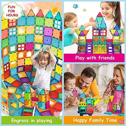 619FxexpIjL. AC  - HOMOFY Kids Magnet Tiles Toys 2021 New Upgrade 120Pcs 3D Magnetic Building Blocks Magnetic Tiles, Inspiration Educational Building Construction Learning Gifts for 3 4 5 6 Year Old Boys Girls