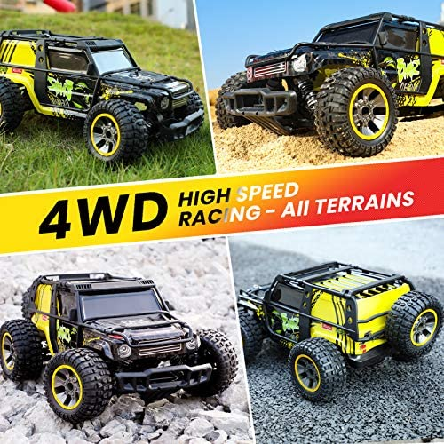61BXCopV3QL. AC  - RC Cars 1:10 Scale Large High Speed Remote Control Car for Adults Kids, 48+ kmh 4WD 2.4GHz Off Road Monster Truck Toys, All Terrain Electric Vehicle Boy Gifts with 2 Batteries for 40+ Min Play