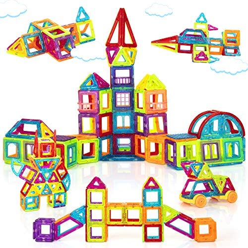 61DQZHE33bL. AC  - Magnetic Building Blocks for Kids, 184PCS Colorful Magnet Tiles with Multiple Shapes, Strong Magnets, 3D STEM Educational Toy for 3+ Year Old Girls Boys