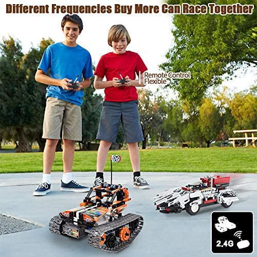 61DTe4VZ TL. AC  - 3-in-1 STEM Remote Control Building Kits-Tracked Car/Robot/Tank, 2.4Ghz Rechargeable RC Racer Toy Set Gift for 8-12,14 Year Old Boys and Girls, Best Engineering Science Learning Kit for Kids (392pcs)