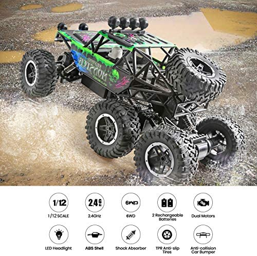 61ENLc9KNSL. AC  - Remote Control Car 1:12 Scale 6WD High Speed 15 Km/h All Terrain Off Road RC Monster Truck Crawler Electric Vehicle Toy with Rechargeable Battery and Light for Kids Boys Gift (Green)