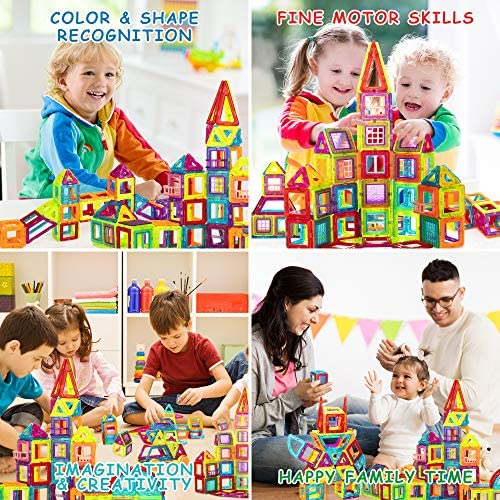 61FjUjL7MeL. AC  - Magnetic Building Blocks for Kids, 184PCS Colorful Magnet Tiles with Multiple Shapes, Strong Magnets, 3D STEM Educational Toy for 3+ Year Old Girls Boys