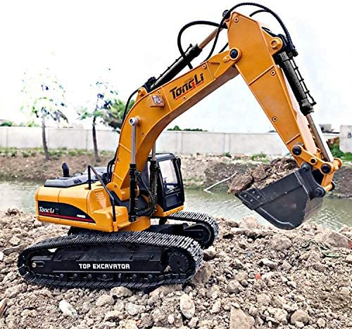 61PAo1wECzL. AC  - TongLi 1580 1:14 Scale All Metal RC Excavator Toy for Adults Remote Control Digger Construction Trucks 2.4Ghz Powerful Upgraded V4 with New Motherboard
