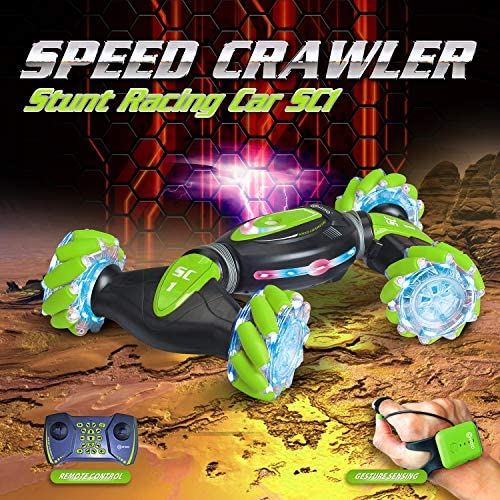 61PQjohtfML. AC  - Contixo SC1 All Terrain Speed Crawler RC Stunt Car, 4WD 2.4GHz Remote Control Car Gesture Sensor Toy Cars, Double Sided Rotating Offroad Vehicle 360° Flip with Lights Music, Kids Toy Cars