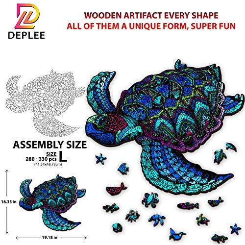 61Z7olsxeOL. AC  - DEPLEE Wooden Puzzle Jigsaw, Turtle Puzzle Toy Artwork, Animal Unique Shape Creative, Best Challenge Game for Adults, Kids, Family and Friend - 304 Pcs – 16.35 x 19.18 in (41.54x48.72cm)- Super King
