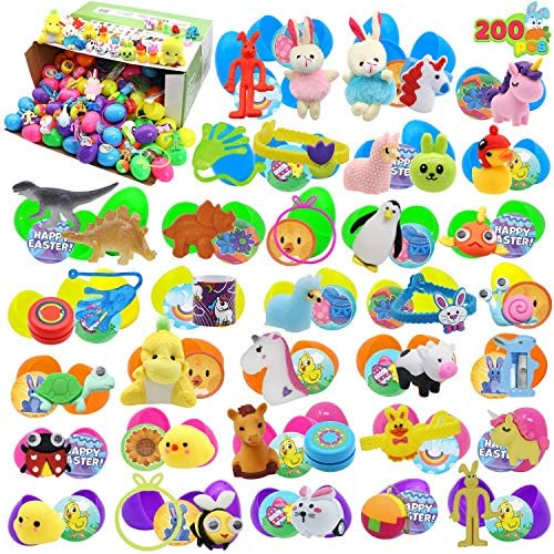 """61ag9uESmVL. AC  - 200 Pcs Prefilled Colorful Easter Eggs w/Toys and Stickers Premium Hinged 2 3/8"""" for Kids Basket Stuffers Fillers, Easter Hunt Game, Toys Filling Treats and Easter Theme Party Favor"""