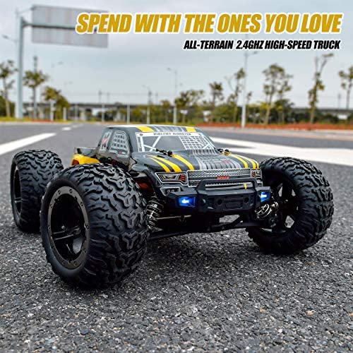 61cBR3ZC+HL. AC  - BEZGAR 1 Hobby Grade 1:10 Scale Remote Control Truck, 4WD High Speed 48+ kmh All Terrains Electric Toy Off Road RC Monster Vehicle Car Crawler with 2 Rechargeable Batteries for Boys Kids and Adults